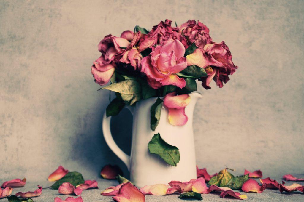 un pot rempli de rose évoque le deuil